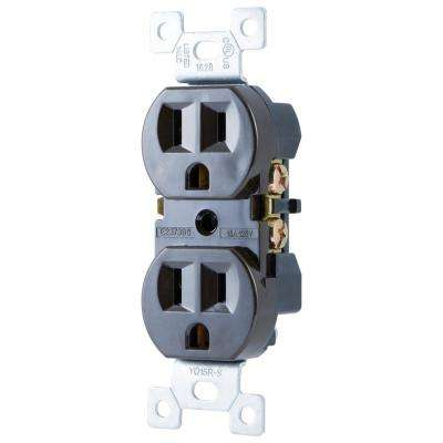 Grounded Duplex Receptacle, Brown