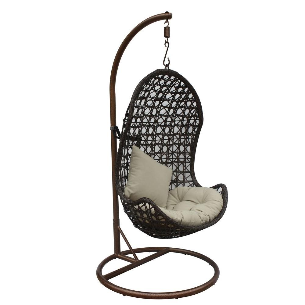 JLIP Brown Rattan Patio Swing Chair with Stand and Beige Cushions