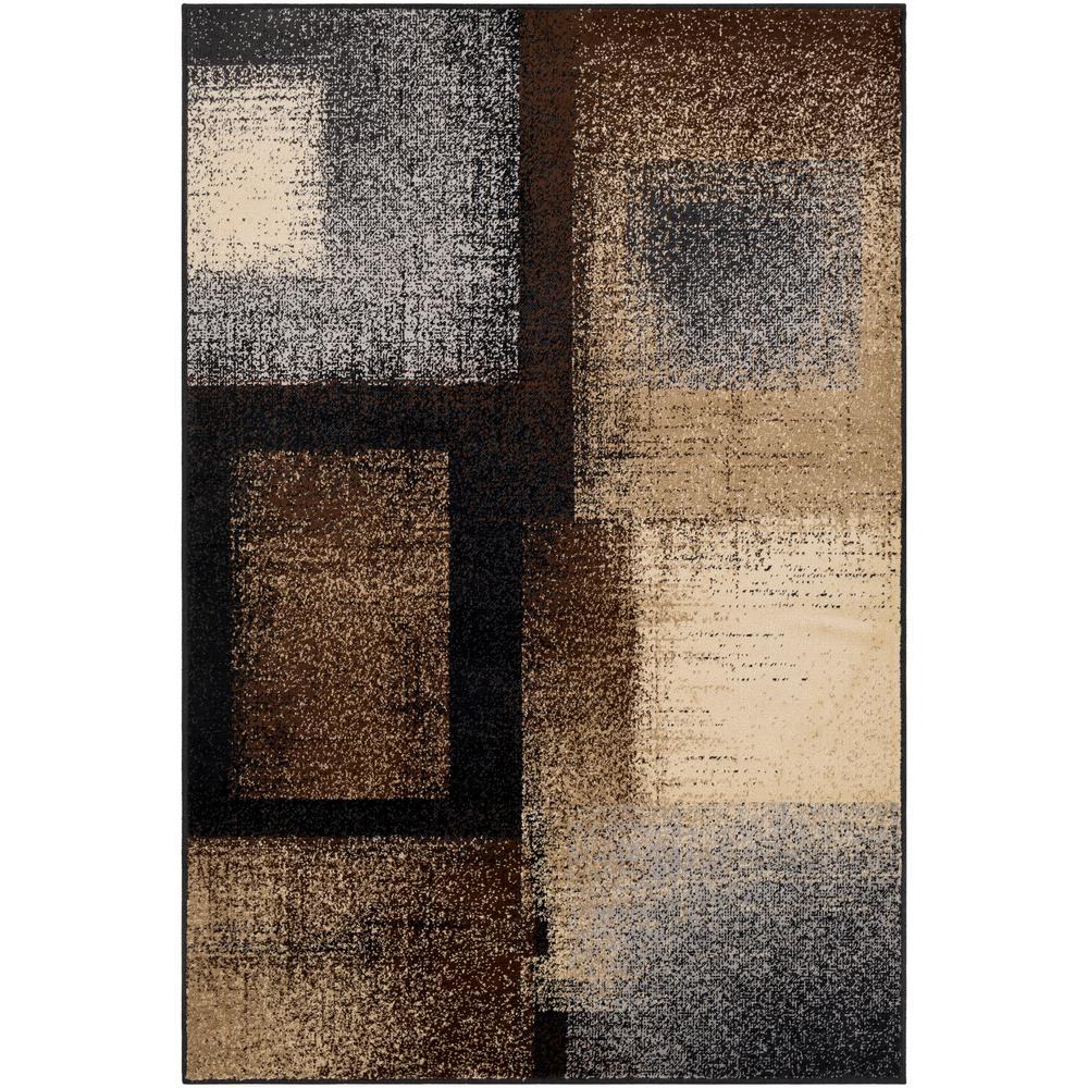 Sora Dark Brown 7 ft. 9 in. x 11 ft. 2 in. Geometric Area Rug