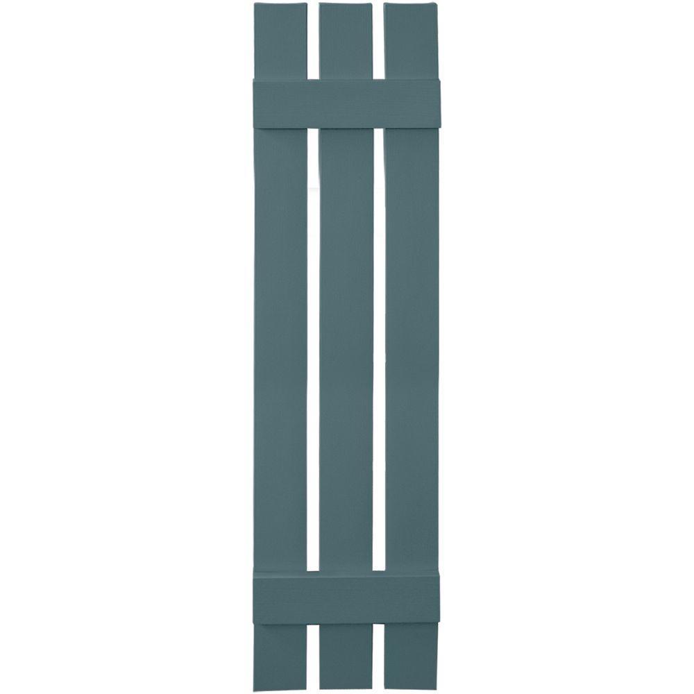 12 in. x 51 in. Board-N-Batten Shutters Pair, 3 Boards Spaced #004 Wedgewood Blue
