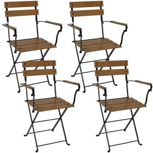 Basic Folding European Chestnut Wood Outdoor Dining Chair with Arms - (Set of 4)