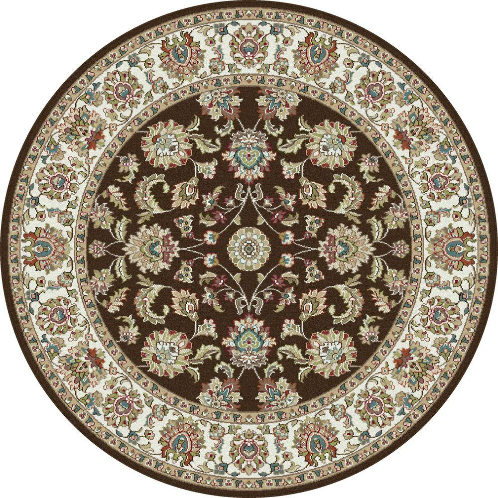 Tayse Rugs Capri Brown 5 ft. 3 in. Traditional Round Area Rug
