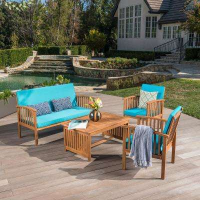 4-Piece Wood Patio Conversation Set with Teal Cushions