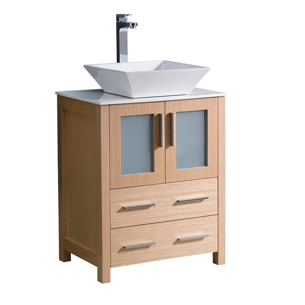 Torino 24 in. Bath Vanity in Light Oak with Glass Stone