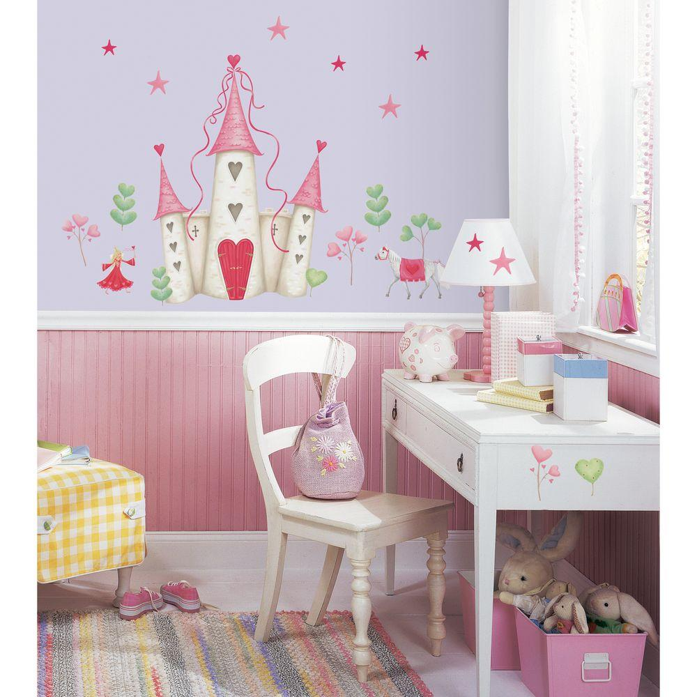 18 in. x 40 in. Princess Castle 21-Piece Peel and Stick