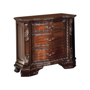Brown 3-Drawer Wooden Nightstand with Carved and Molded Details 18 in. L x 30.13 in. W x 29.88 in. H