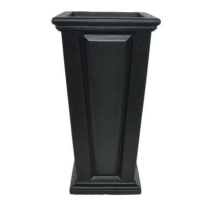 27 in. H Black Composite Tall Tapered Raised Panel Planter