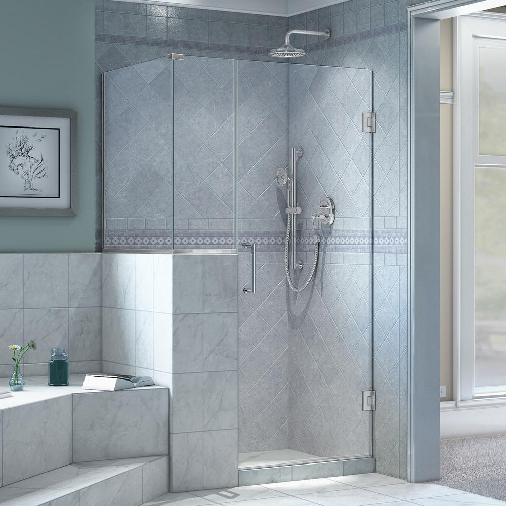Dreamline Unidoor Plus 40 3 8 In X 36 72 Frameless Corner Pivot Shower Enclosure Chrome