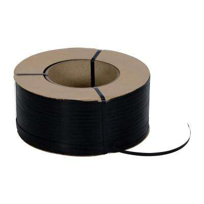 9,900 ft. Roll 9 in. x 8 in. Core Black Poly Strapping
