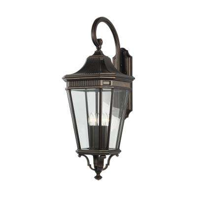 Cotswold Lane 4-Light Grecian Bronze Outdoor 36.25 in. Wall Lantern Sconce