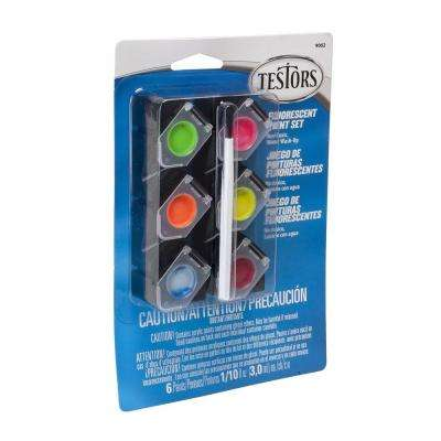 0.10 oz. 6-Color Fluorescent Acrylic Paint Pod Set (4-Pack)