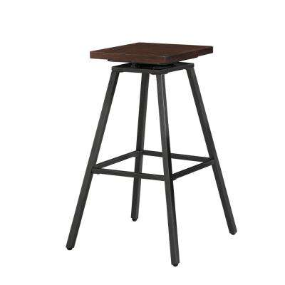 Clifton 30 in. Walnut Backless Swivel Bar Stool