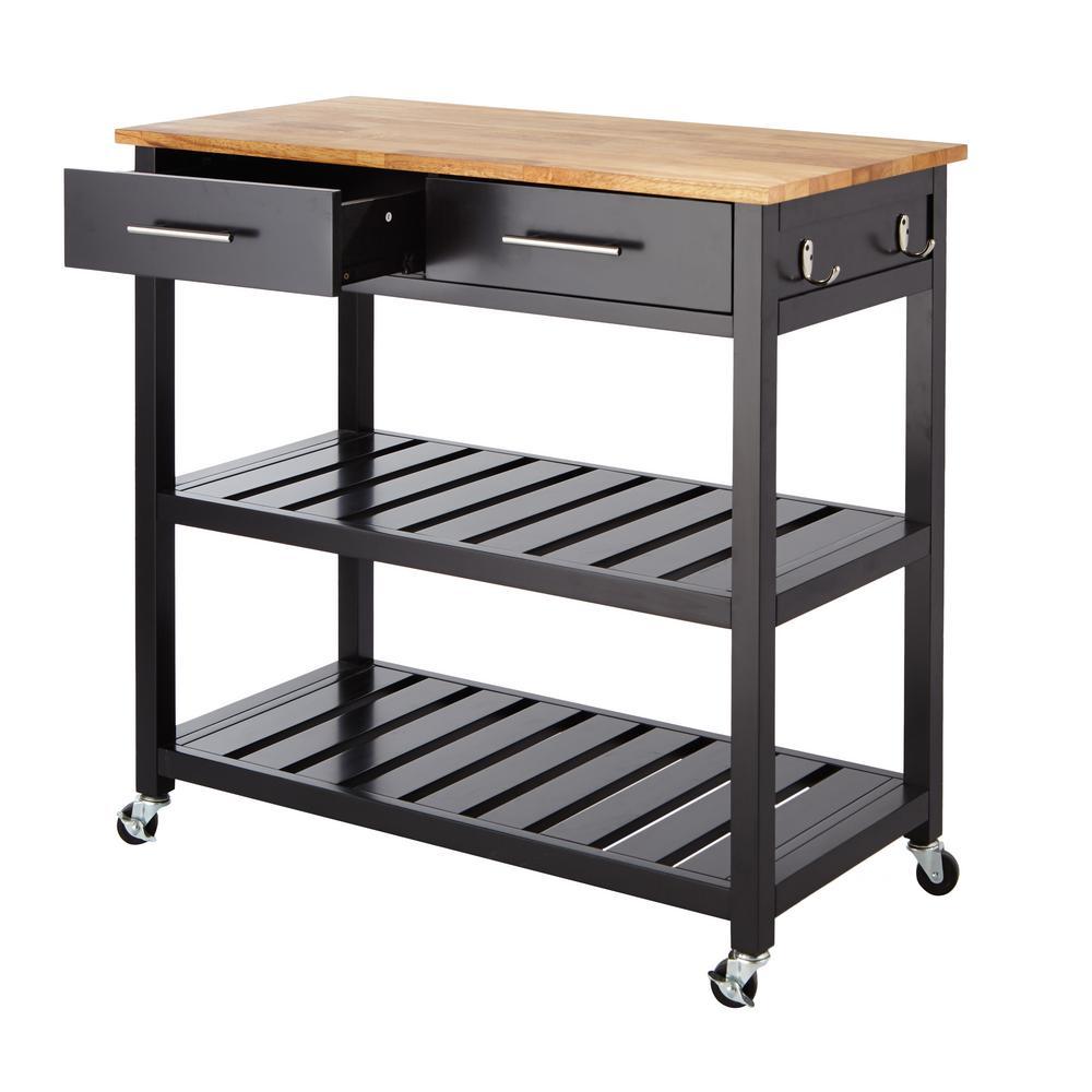 Glenville Black Double Kitchen Cart