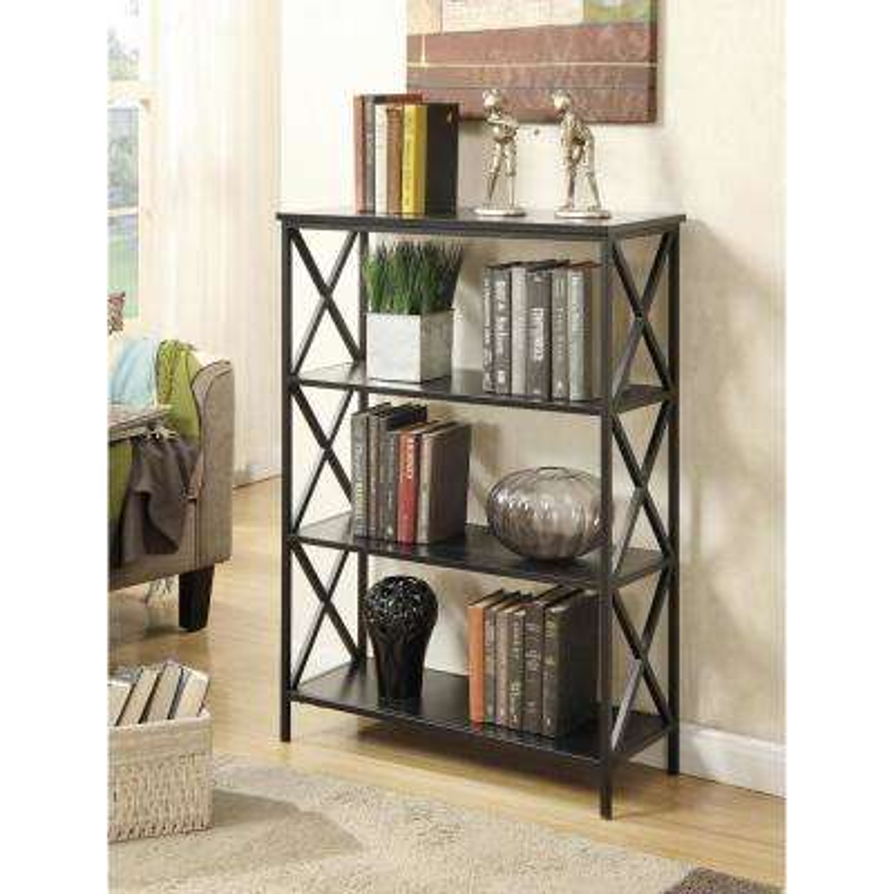 Tuscon Black 4-Tier Bookcase