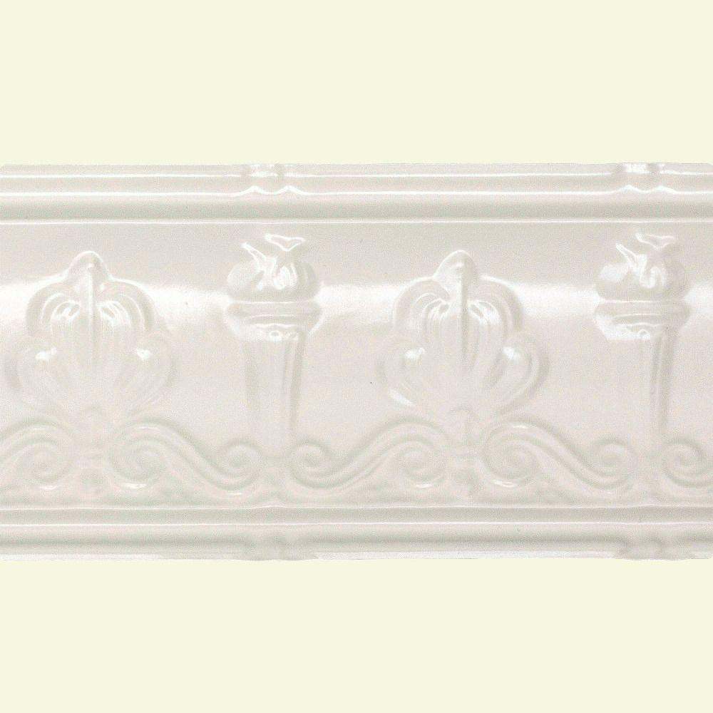 48 in. Superior Tin Crown Molding in Antique White
