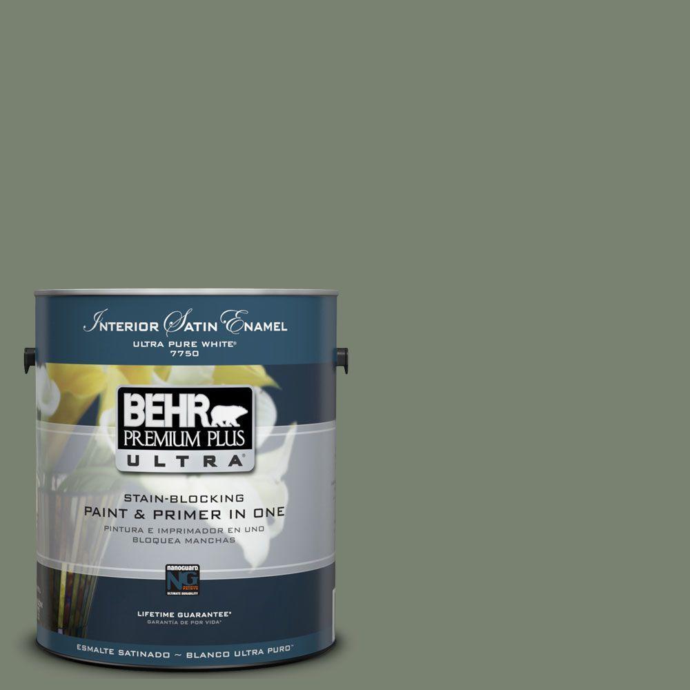BEHR Premium Plus Ultra 1-Gal. #UL210-4 Cactus Garden Interior Satin Enamel Paint