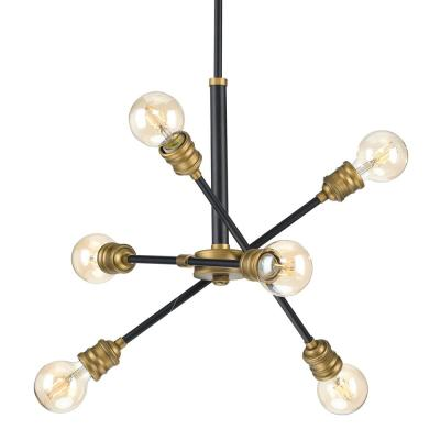 Landrum 6-Light Black with Vintage Brass Accents Chandelier