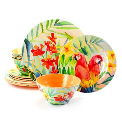12-Piece Patterned Assorted Melamine Outdoor Dinnerware Set (Service for 4)