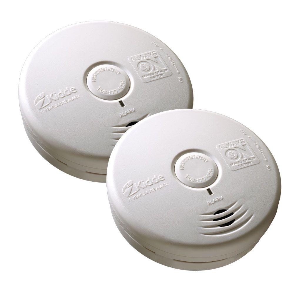 10-Year Sealed Battery Smoke Detector with Photoelectric Sensor (2-pack)