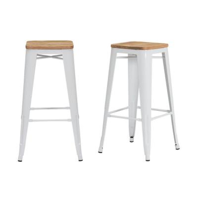 Finwick White Metal Backless Bar Stool with Wood Seat (Set of 2) (16.93 in. W x 29.53 in. H)