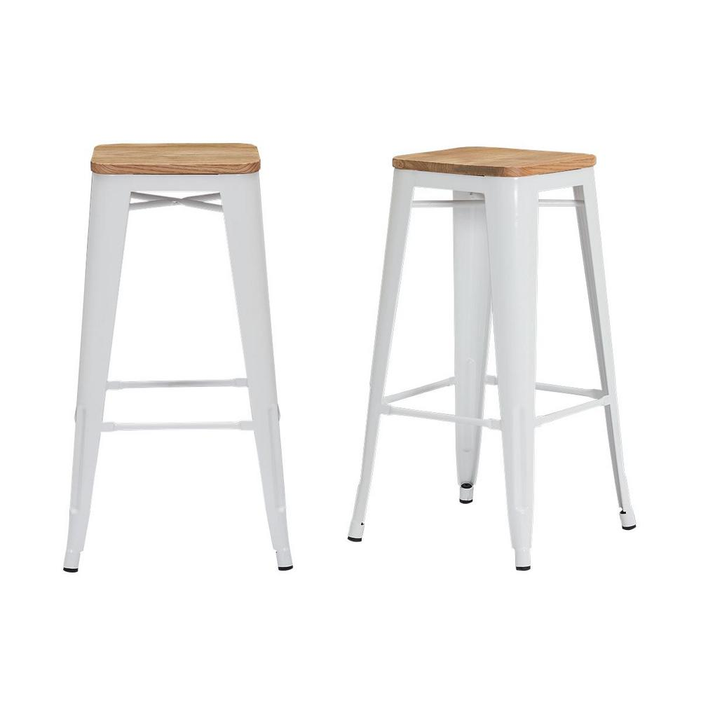 Stylewell StyleWell Finwick White Metal Backless Bar Stool with Wood Seat (Set of 2) (16.93 in. W x 29.53 in. H), White/Natural