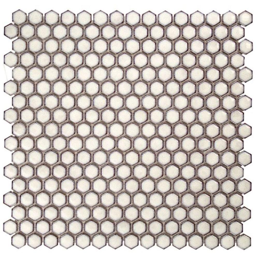 Bliss Edged Hexagon Polished Eskimo Ceramic Mosaic Floor and Wall Tile