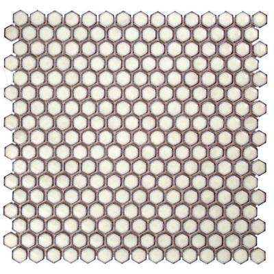 Bliss Edged Hexagon Polished Eskimo Ceramic Mosaic Floor and Wall Tile - 3 in. x 6 in. Tile Sample