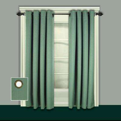 Grand Pointe 54 in. W x 84 in. L Polyester Blackout Window Panel in Green