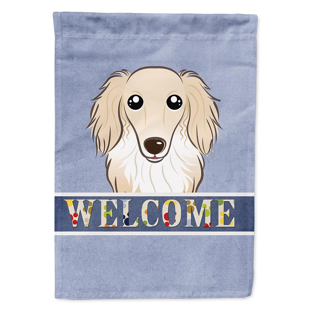 28 in. x 40 in. Polyester Longhair Creme Dachshund Welcom...