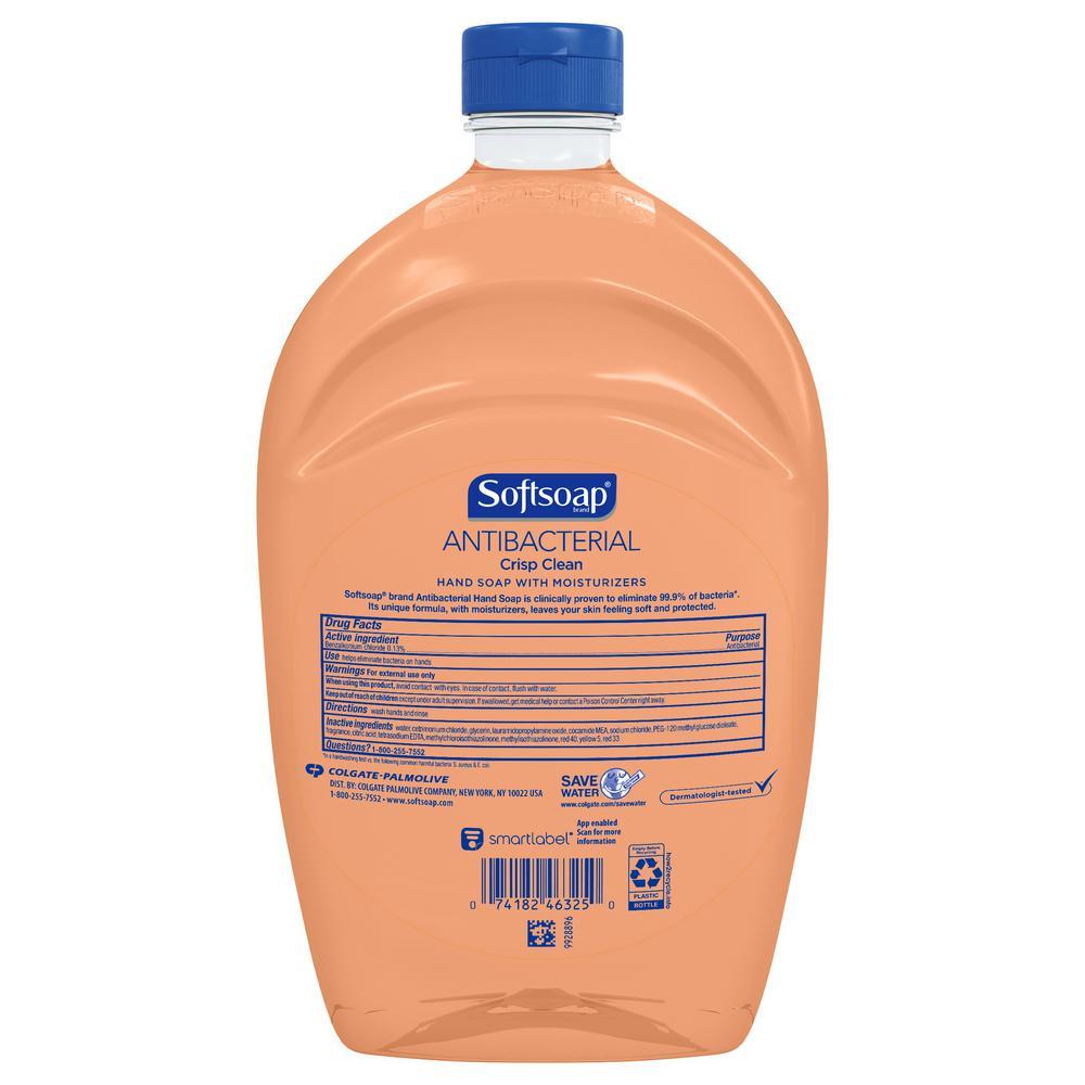 Softsoap 50 Oz Anti Bacterial Crisp Clean Liquid Hand Soap Refill Us05261a The Home Depot