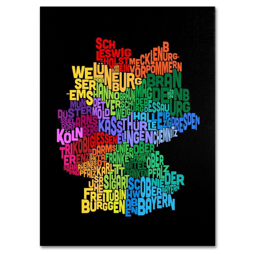 Trademark Fine Art 14 in. x 19 in. Germany Region Text Map 3 Canvas Art