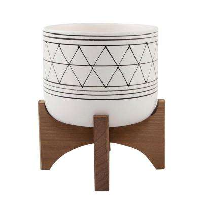 Mid-Century 5 in. White/Black Line Ceramic Geometric Pot with Wood Stand Planter