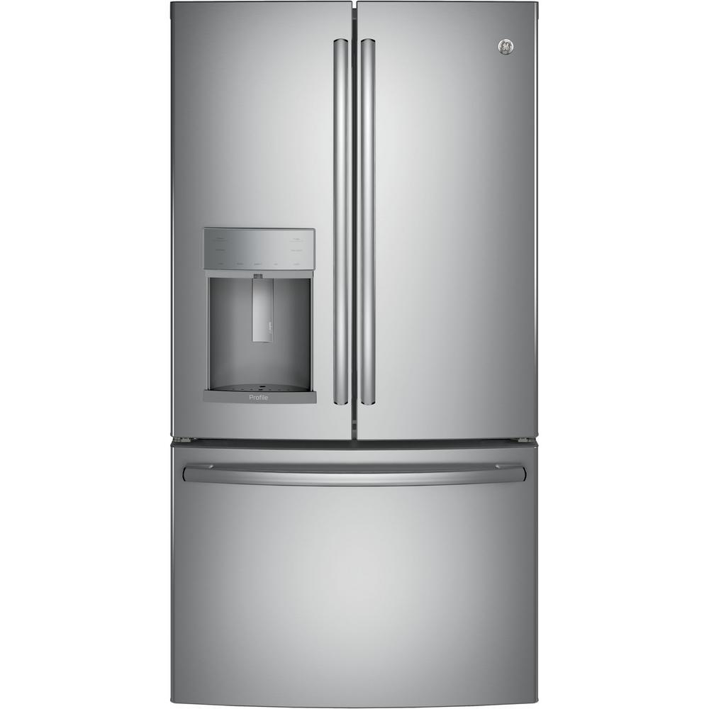 Click here to buy GE Profile 36 inch W 22.2 cu. ft. French Door Refrigerator with Door-in-Door in Stainless Steel, Counter Depth by GE.