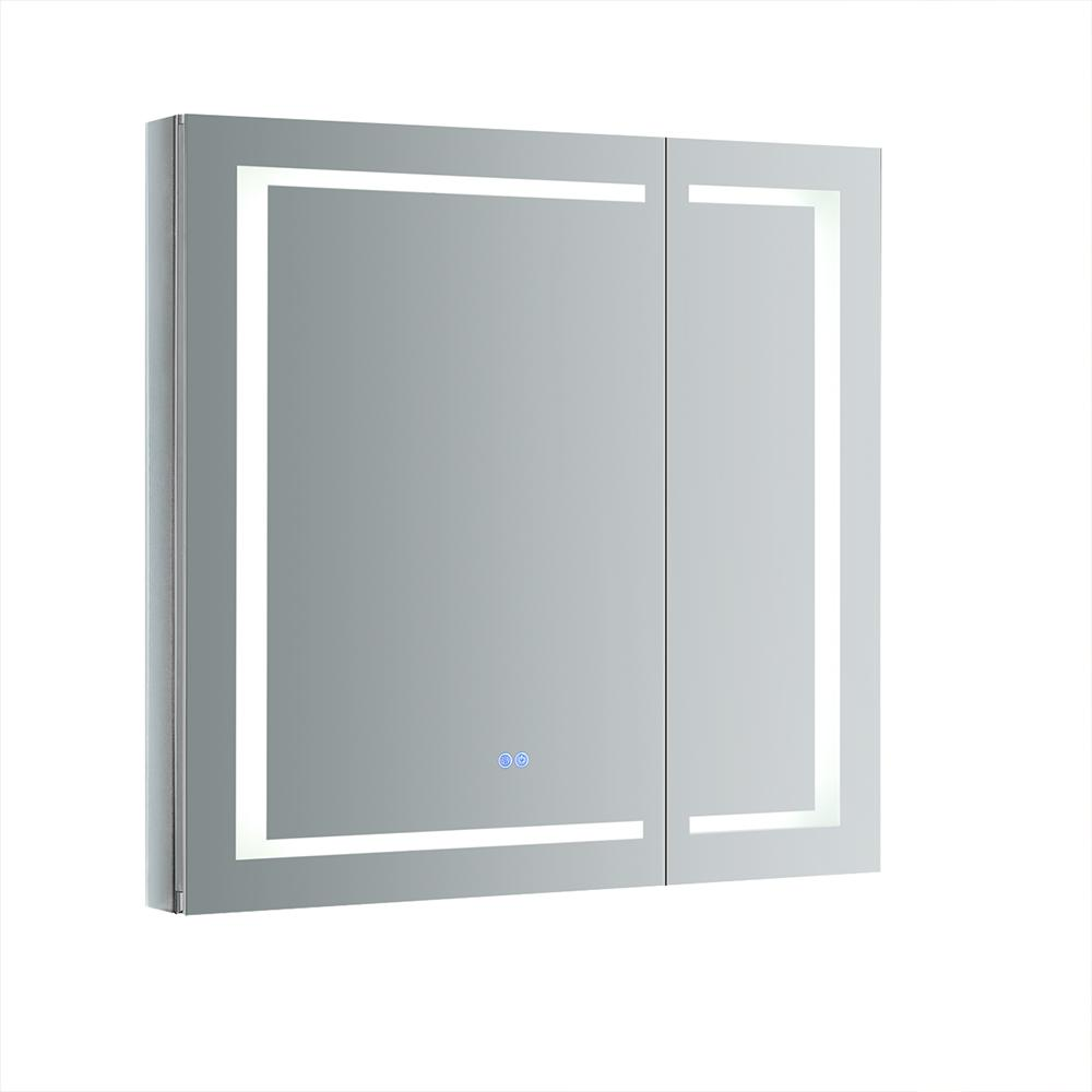 Fresca Spazio 36 In W X H Recessed Or Surface Mount Medicine Cabinet With Led Lighting And Mirror Defogger