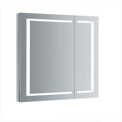 Spazio 36 in. W x 36 in. H Recessed or Surface Mount Medicine Cabinet with LED Lighting and Mirror Defogger
