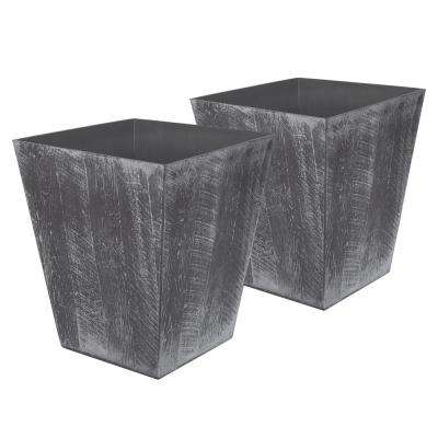 Farmington 15.5 in. x 18 in. Gray Resin Planter (2-Pack)