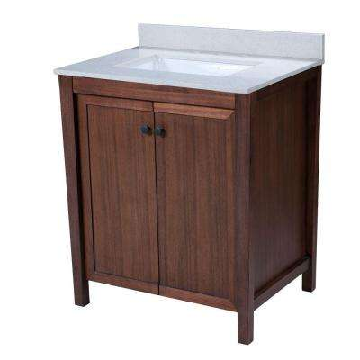 Tanya 30.5 in. W x 22 in. D Vanity in American Walnut with Quartz Vanity Top in White with White Basin