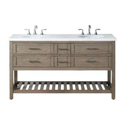 Wimsbury 62 in. W x 22 in. D Bath Vanity in Weather Oak with Marble Vanity Top in White with White Basin