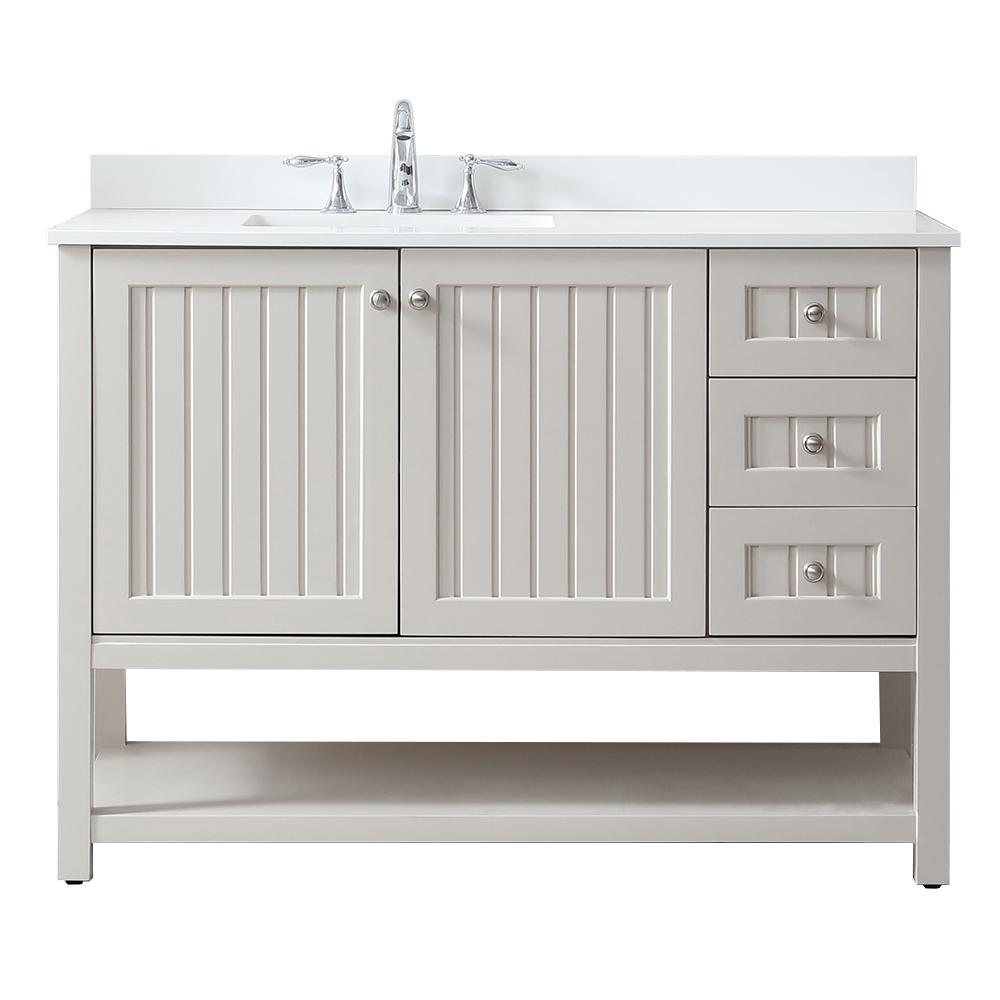 Martha Stewart Living Seal Harbor 48 in. W x 22 in. D Vanity in Sharkey Grey with Quartz Vanity Top in Pure White with White Basin