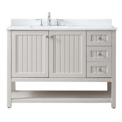 Seal Harbor 48 in. W x 22 in. D Vanity in Sharkey Grey with Quartz Vanity Top in Pure White with White Basin