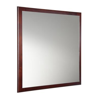 Oxford 32 in. W x 32 in. H Framed Wall Mirror in Mahogany