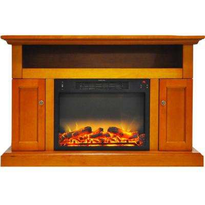 Kingsford 47 in. Electric Fireplace with an Enhanced Log Display and Entertainment Stand in Teak