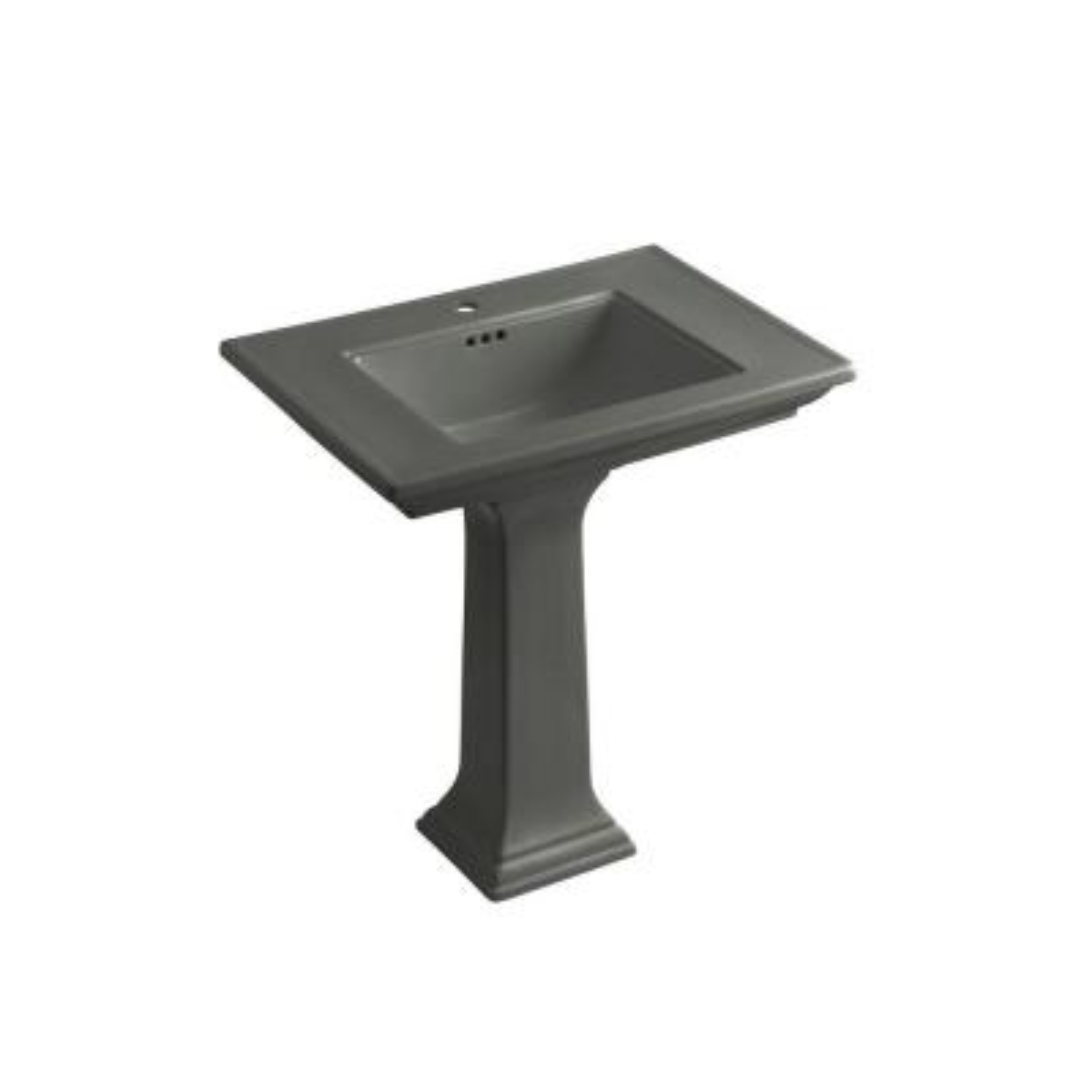 Memoirs Ceramic Pedestal Combo Bathroom Sink in in Thunder Grey with Overflow Drain