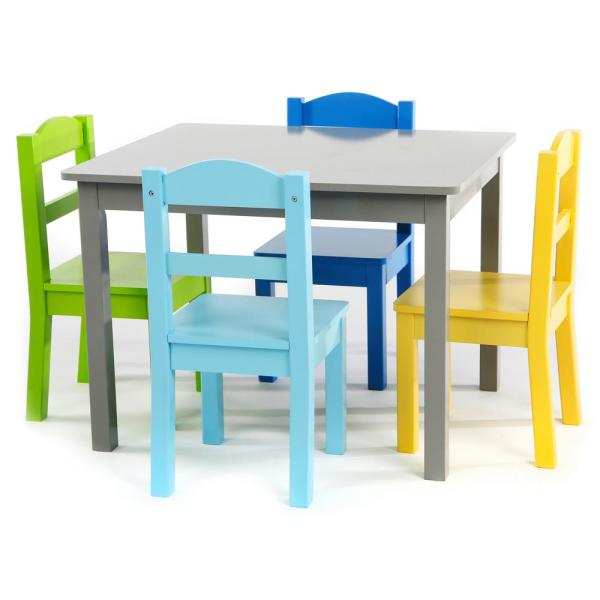 Tot Tutors 3 Piece Grey Kids Large Table And Chair Set