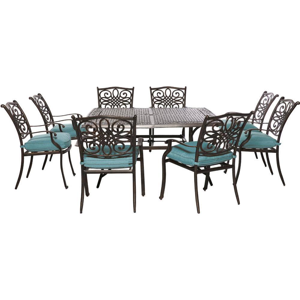 Square Dining Set Blue Cushions