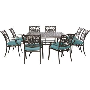 Cambridge Seasons 9-Piece All-Weather Square Patio Dining Set with Blue Cushions by Cambridge