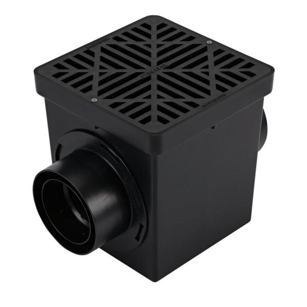 9 in. x 9 in. Plastic Square Drainage Catch Basin in Black, 2 Opening Kit