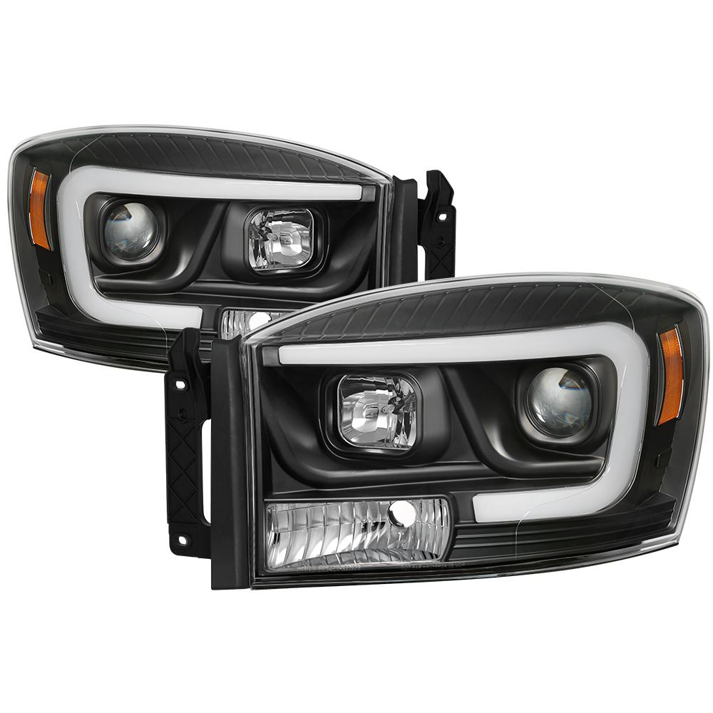 Spyder Auto Dodge Ram 1500 06 08 Ram 2500 3500 06 09 Version 2 Projector Headlights Light Bar Drl Black