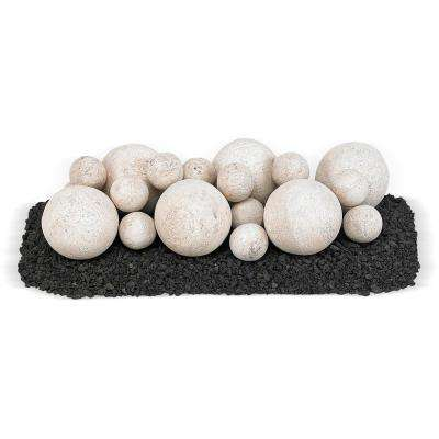18 in. x 6 in. Cottage White Mixed Set, 6-4 in. Lite Stone Balls, 14-2 in. Lite Stone Balls with 5 lbs. Small Lava Rock