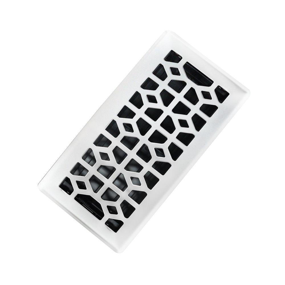 Trademark Tools 4 in. x 10 in. Abstract Steel Floor Register in White